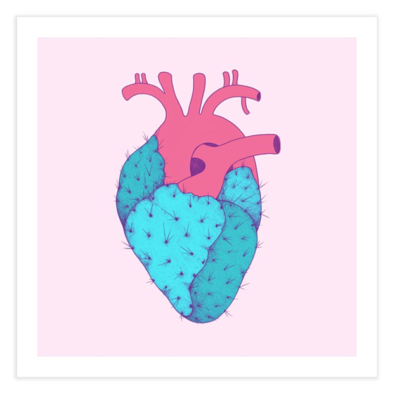 Cactus Heart Home Fine Art Print by Ranggasme's Artist Shop