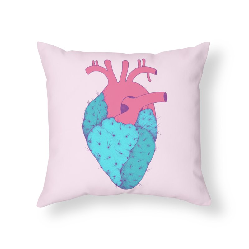 Cactus Heart Home Throw Pillow by Ranggasme's Artist Shop