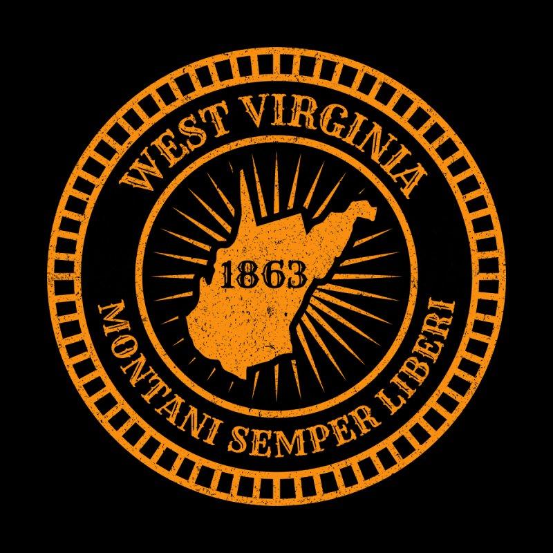 West Virginia - Map Badge Motto Flag Montani Semper Liberi Slogan - US Eastern State Birthday 1863 Kids Baby Longsleeve Bodysuit by Ranggasme's Artist Shop