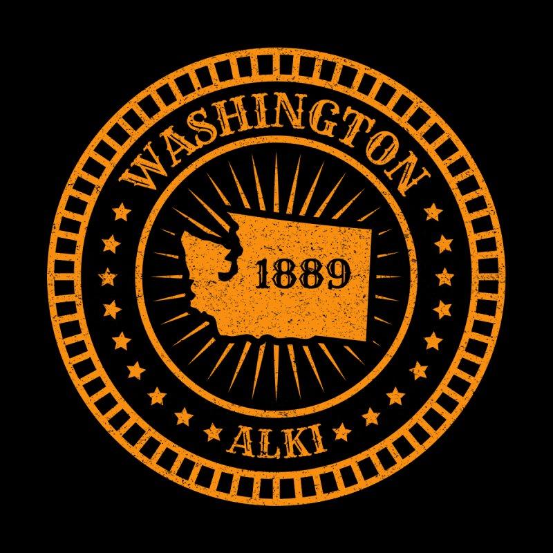 Washington - Map Badge Motto Flag Slogan Alki By and By - American State Birthday 1889 Kids Baby Longsleeve Bodysuit by Ranggasme's Artist Shop