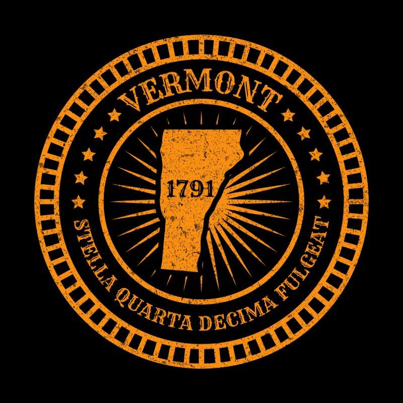 Vermont - VT Map Badge Motto Flag Slogan Stella Quarta Decima Fulgeat - US May the 14th star shine Kids Baby Longsleeve Bodysuit by Ranggasme's Artist Shop