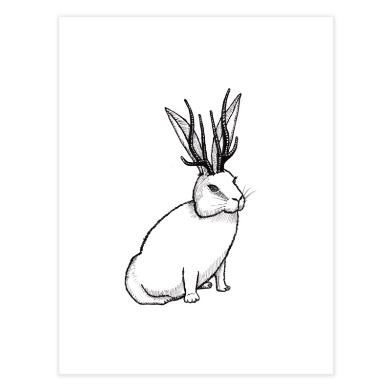 Black and White Jackalope Home Fine Art Print by Raven Mad Design's Artist Shop