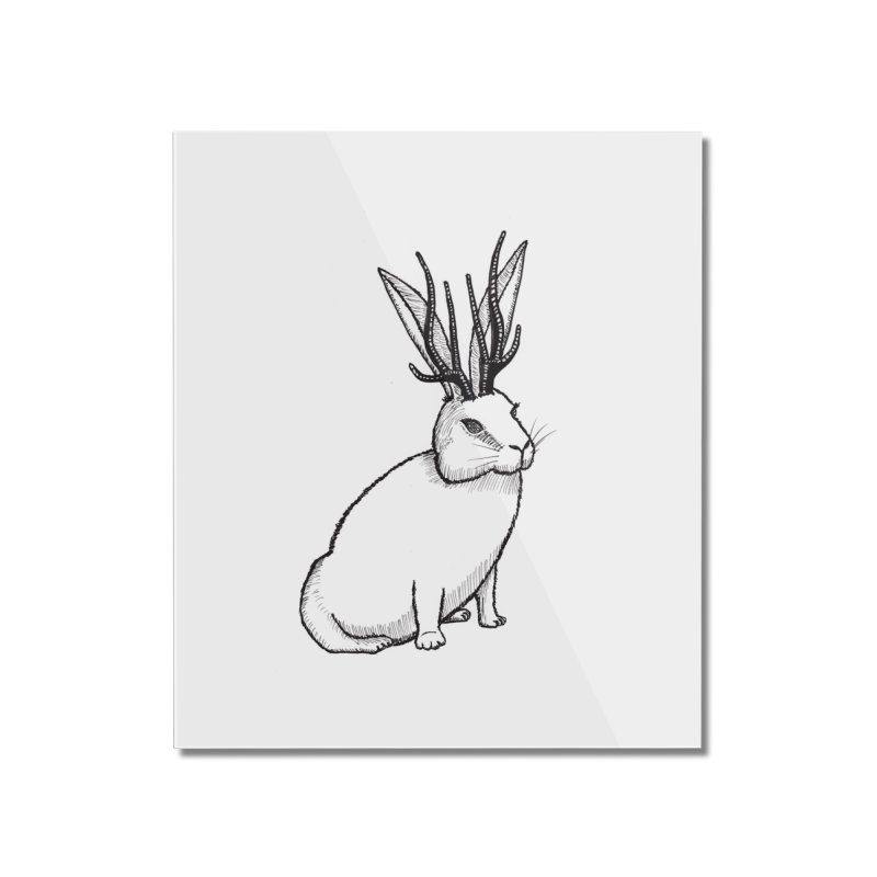 Black and White Jackalope Home Mounted Acrylic Print by Raven Mad Design's Artist Shop