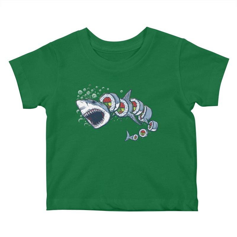 Shark Sushi Kids Baby T-Shirt by Rax's Artist Shop