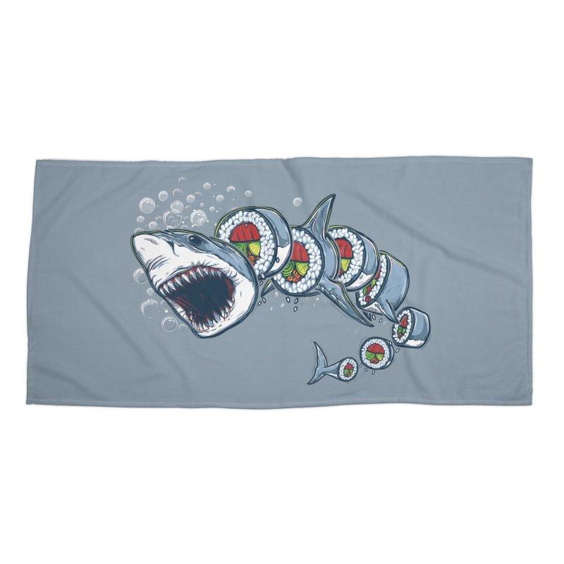 Shark Sushi Accessories Beach Towel by Rax's Artist Shop