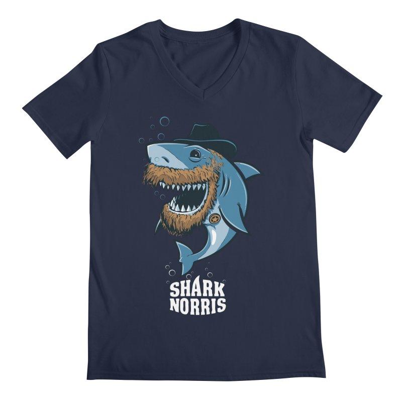 Shark Norris Men's V-Neck by Rax's Artist Shop