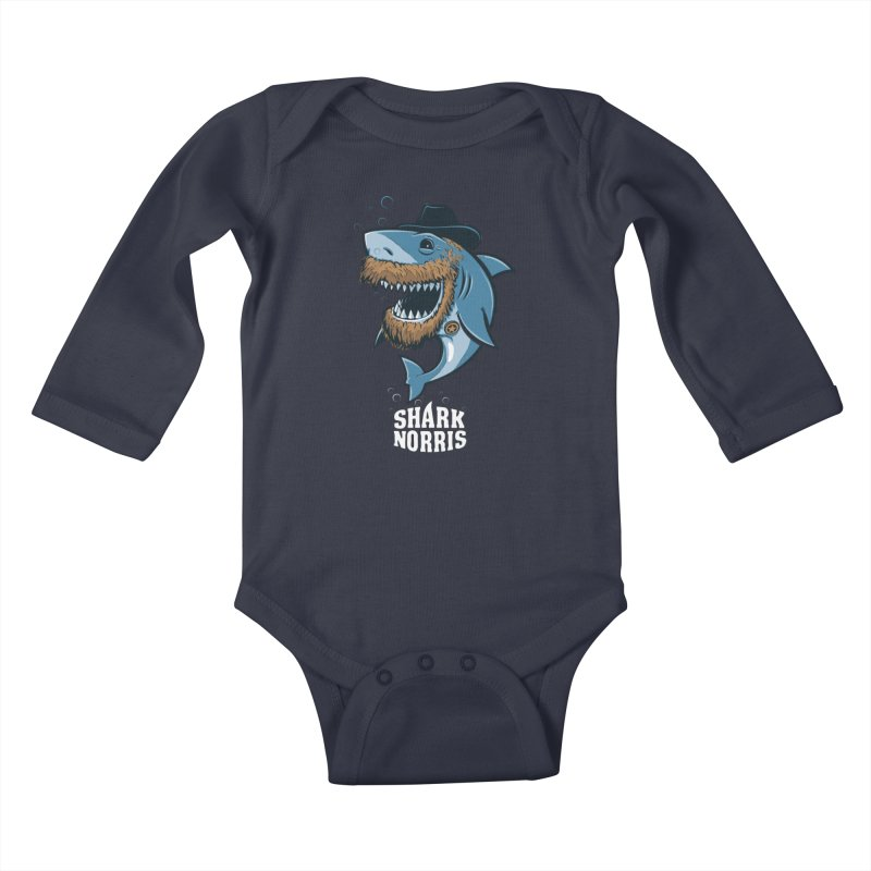 Shark Norris Kids Baby Longsleeve Bodysuit by Rax's Artist Shop