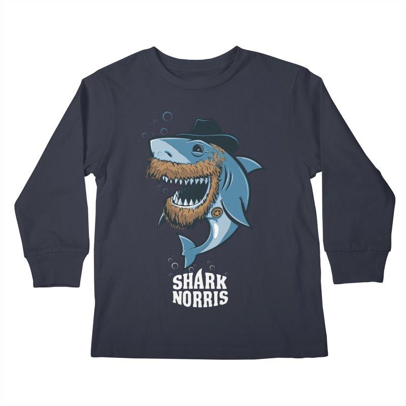 Shark Norris Kids Longsleeve T-Shirt by Rax's Artist Shop
