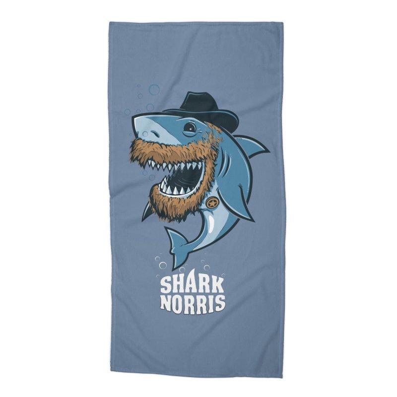Shark Norris Accessories Beach Towel by Rax's Artist Shop