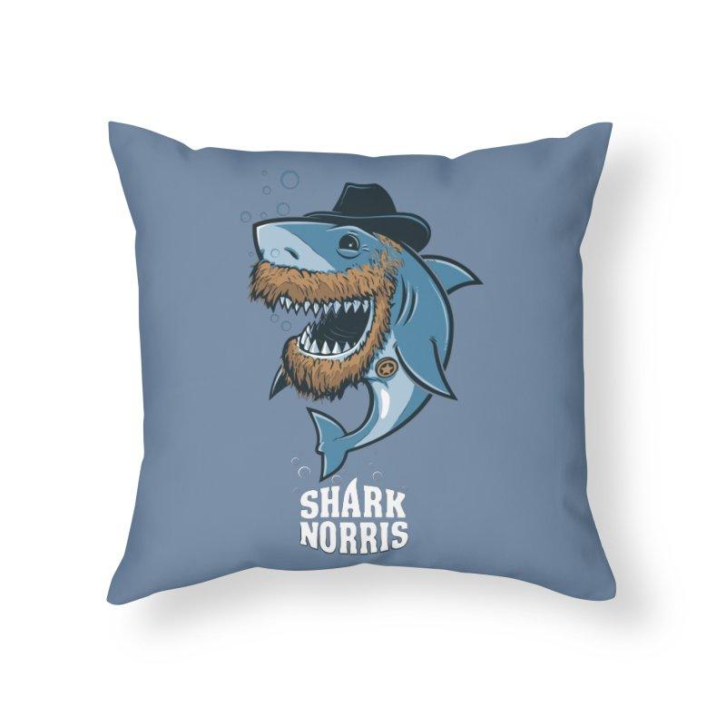 Shark Norris Home Throw Pillow by Rax's Artist Shop