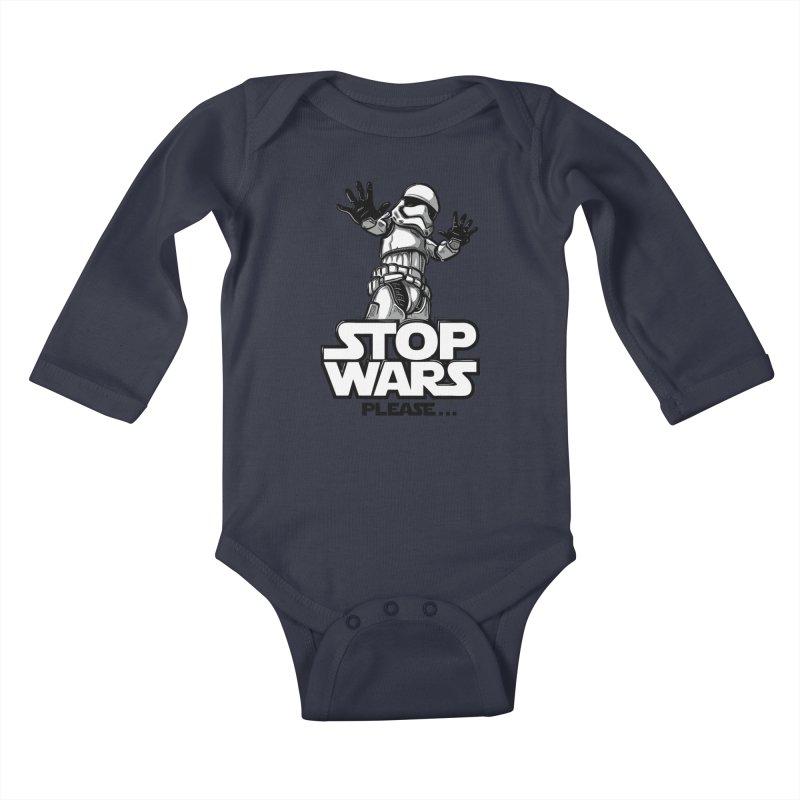 Stop wars, please! Kids Baby Longsleeve Bodysuit by Rax's Artist Shop