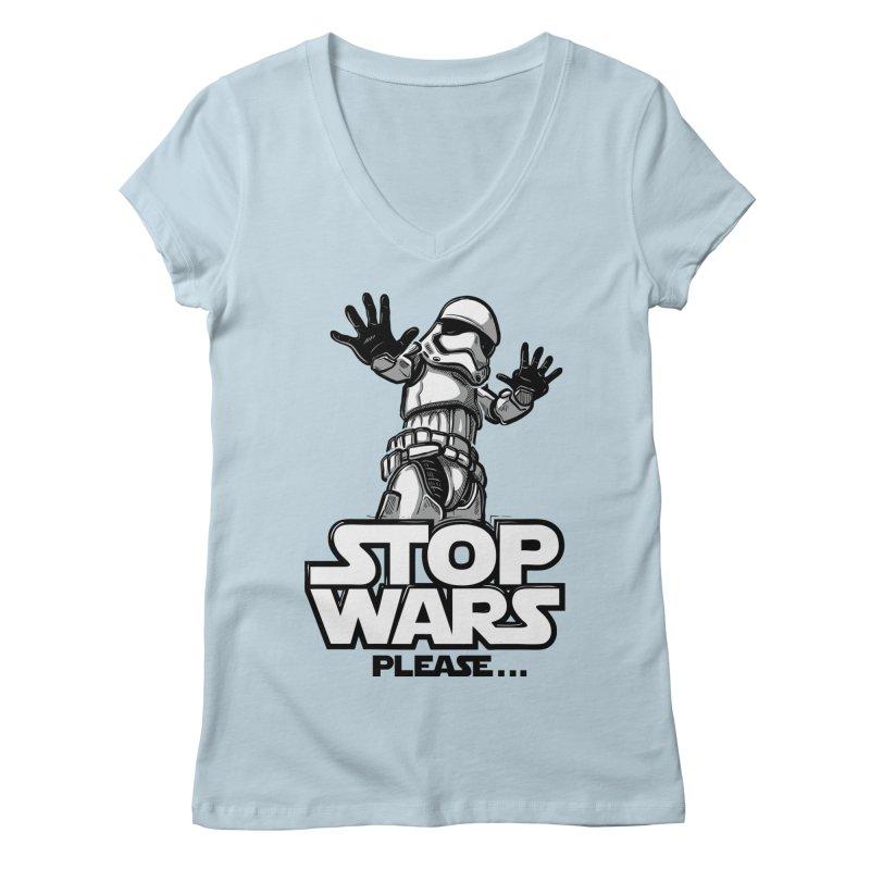 Stop wars, please! Women's V-Neck by Rax's Artist Shop