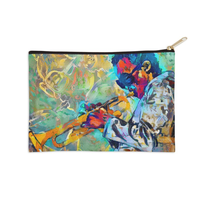 Jazz State of Mind - Colorful Impressionism Trumpetist Accessories Zip Pouch by Realismagico's Artist Shop