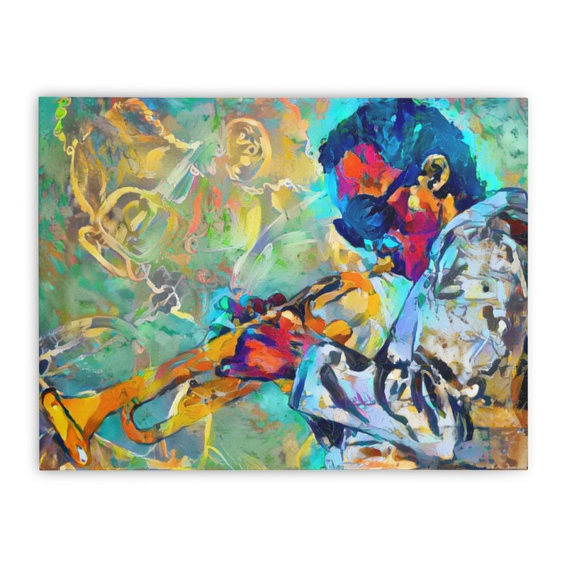 Jazz State of Mind - Colorful Impressionism Trumpetist Home Stretched Canvas by Realismagico's Artist Shop