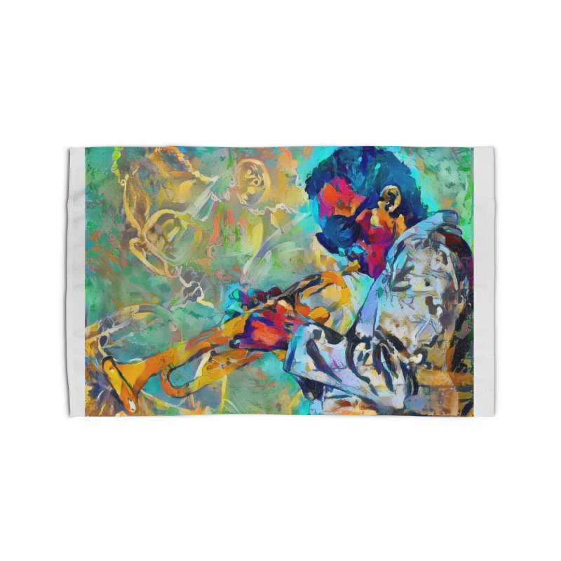 Jazz State of Mind - Colorful Impressionism Trumpetist Home Rug by Realismagico's Artist Shop
