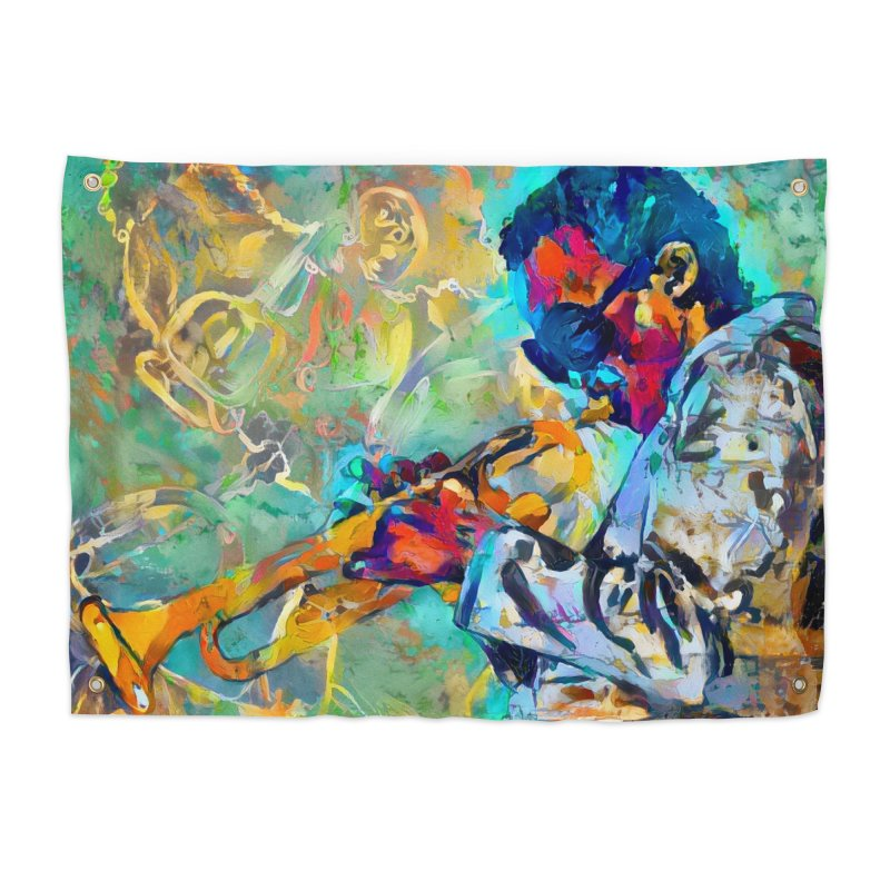 Jazz State of Mind - Colorful Impressionism Trumpetist Home Tapestry by Realismagico's Artist Shop
