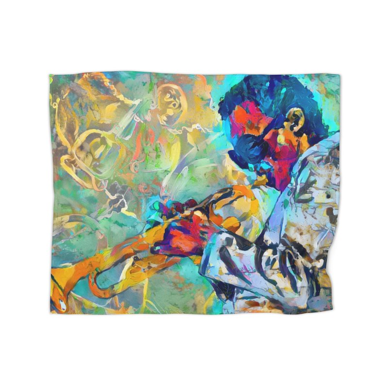 Jazz State of Mind - Colorful Impressionism Trumpetist Home Blanket by Realismagico's Artist Shop