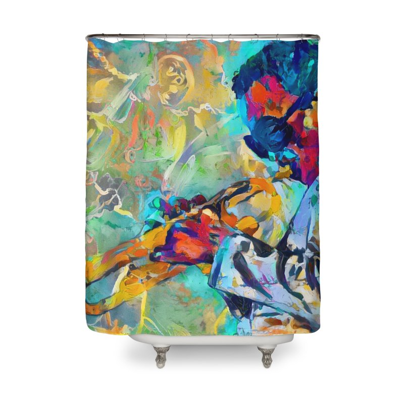 Jazz State of Mind - Colorful Impressionism Trumpetist Home Shower Curtain by Realismagico's Artist Shop