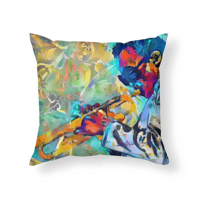 Jazz State of Mind - Colorful Impressionism Trumpetist Home Throw Pillow by Realismagico's Artist Shop