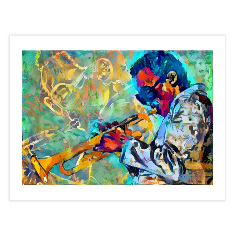 Jazz State of Mind - Colorful Impressionism Trumpetist Home Fine Art Print by Realismagico's Artist Shop