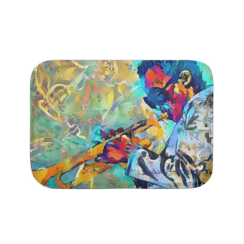 Jazz State of Mind - Colorful Impressionism Trumpetist Home Bath Mat by Realismagico's Artist Shop