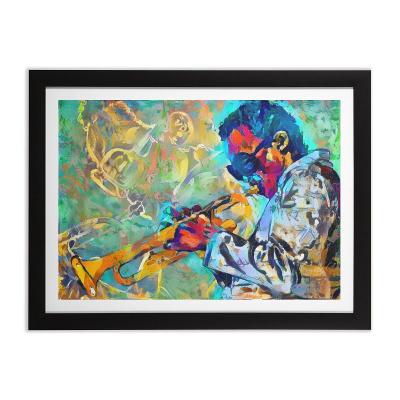 Jazz State of Mind - Colorful Impressionism Trumpetist Home Framed Fine Art Print by Realismagico's Artist Shop