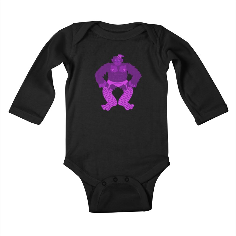 Showgirl Gorilla  Kids Baby Longsleeve Bodysuit by Rebecca's Artist Shop