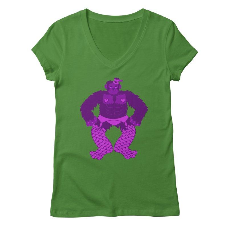 Showgirl Gorilla  Women's V-Neck by Rebecca's Artist Shop