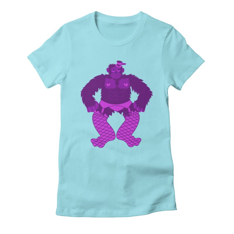 Showgirl Gorilla  Women's Fitted T-Shirt by Rebecca's Artist Shop