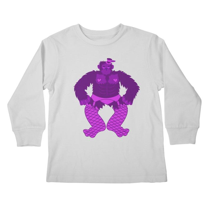 Showgirl Gorilla  Kids Longsleeve T-Shirt by Rebecca's Artist Shop