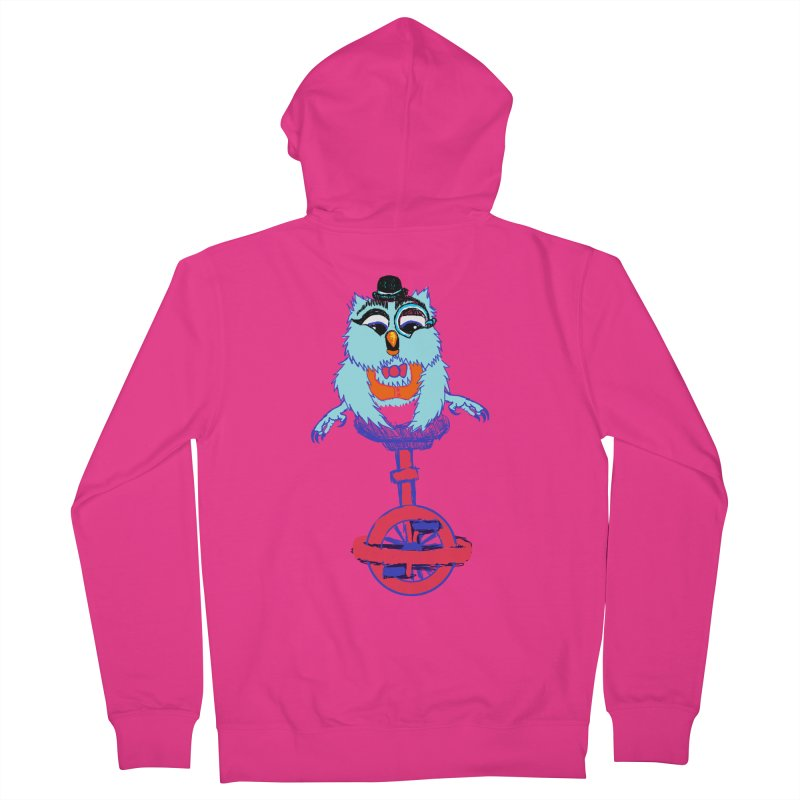 Owl on a Unicyle Men's Zip-Up Hoody by Rebecca's Artist Shop