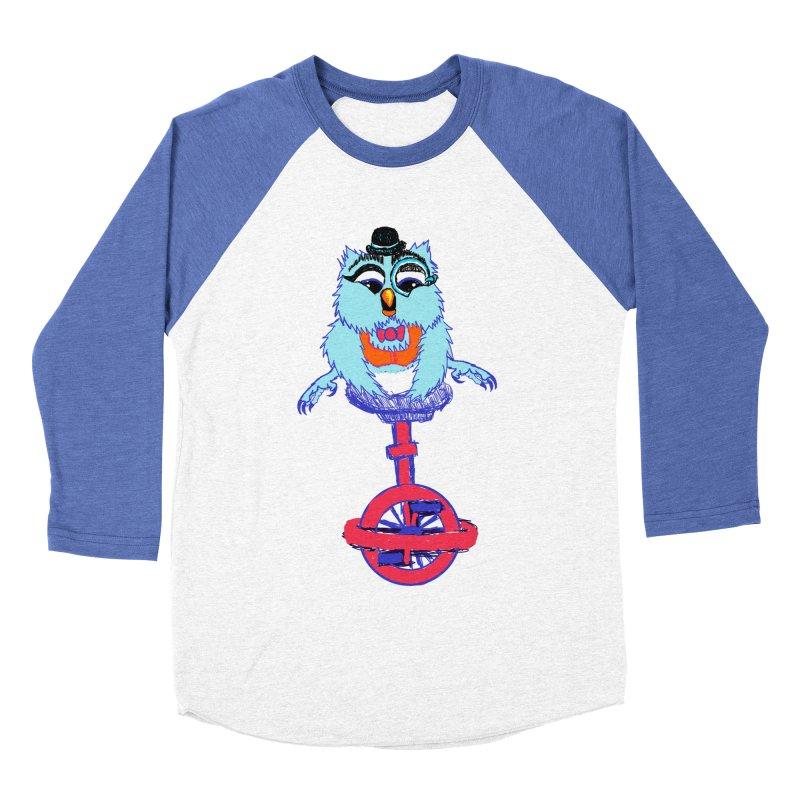 Owl on a Unicyle Men's Baseball Triblend T-Shirt by Rebecca's Artist Shop