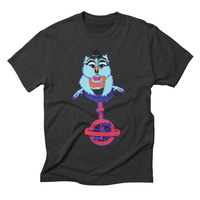 Owl on a Unicyle Men's Triblend T-shirt by Rebecca's Artist Shop
