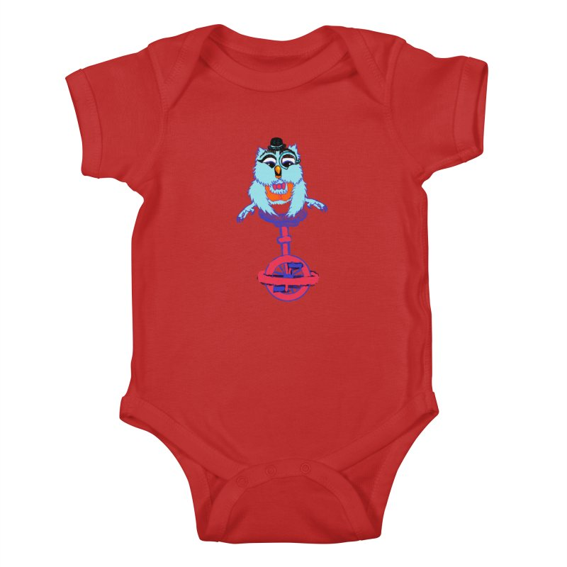 Owl on a Unicyle Kids Baby Bodysuit by Rebecca's Artist Shop