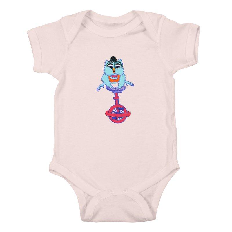 Owl on a Unicyle Kids Baby Bodysuit by Rebecca's Artist Shop