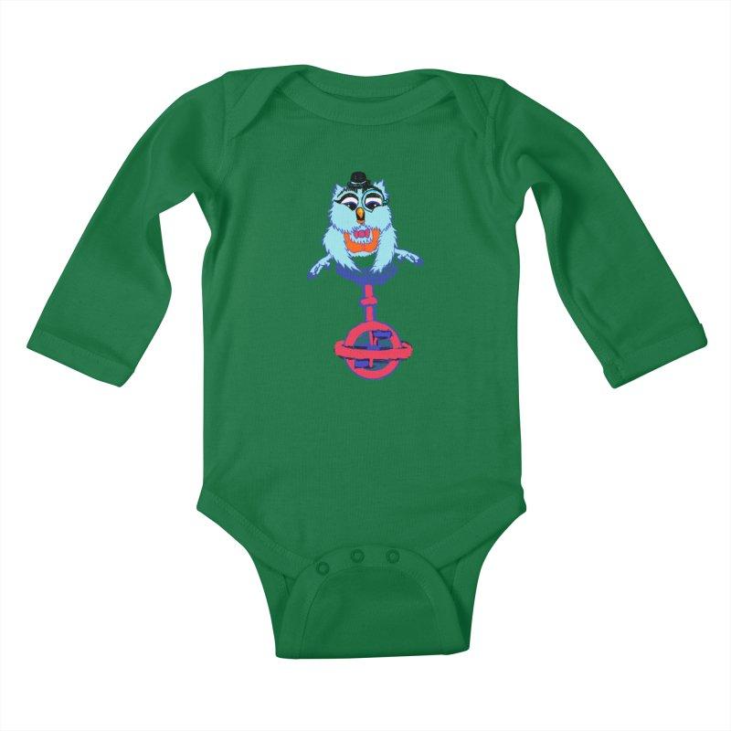 Owl on a Unicyle Kids Baby Longsleeve Bodysuit by Rebecca's Artist Shop