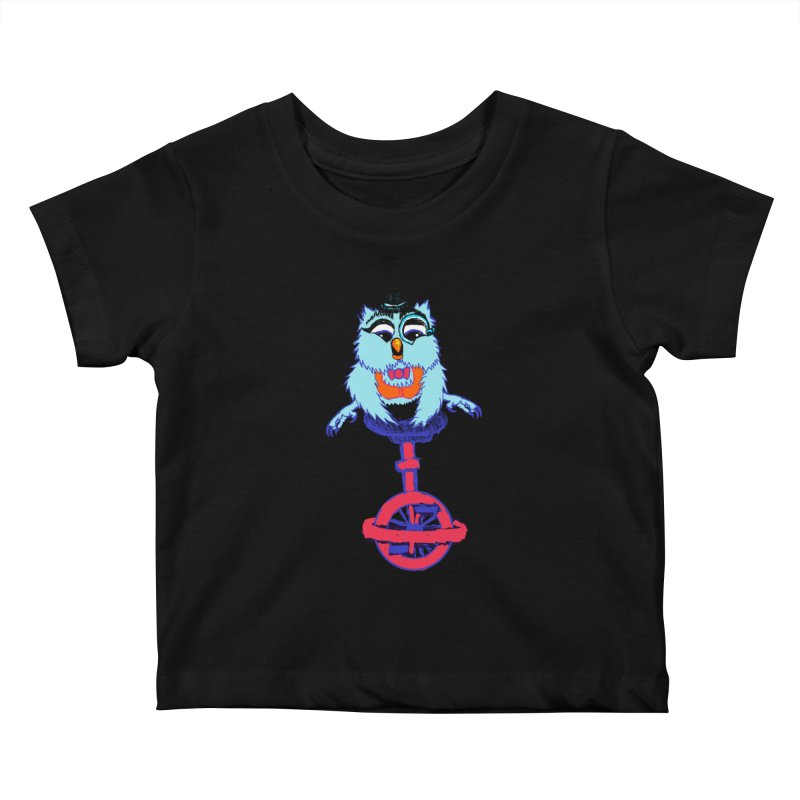 Owl on a Unicyle Kids Baby T-Shirt by Rebecca's Artist Shop