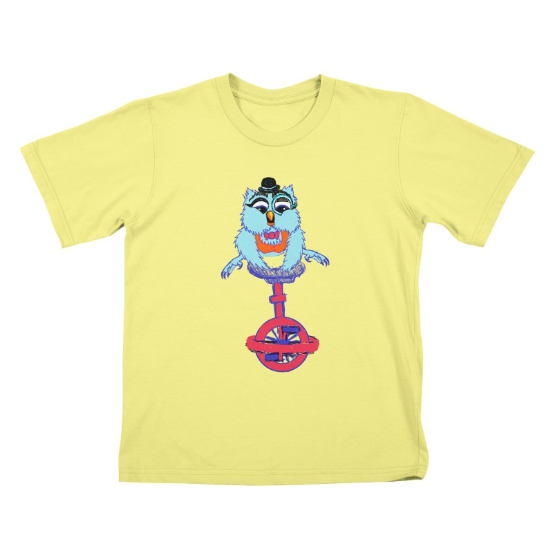Owl on a Unicyle Kids T-shirt by Rebecca's Artist Shop