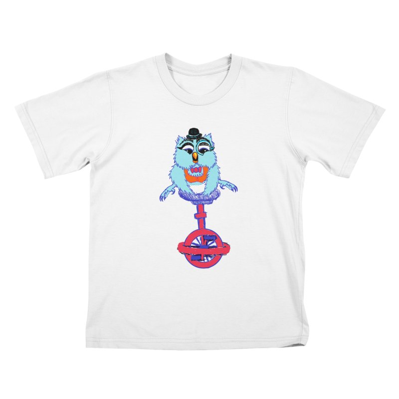 Owl on a Unicyle Kids T-shirt by Rebecca's Artist Shop