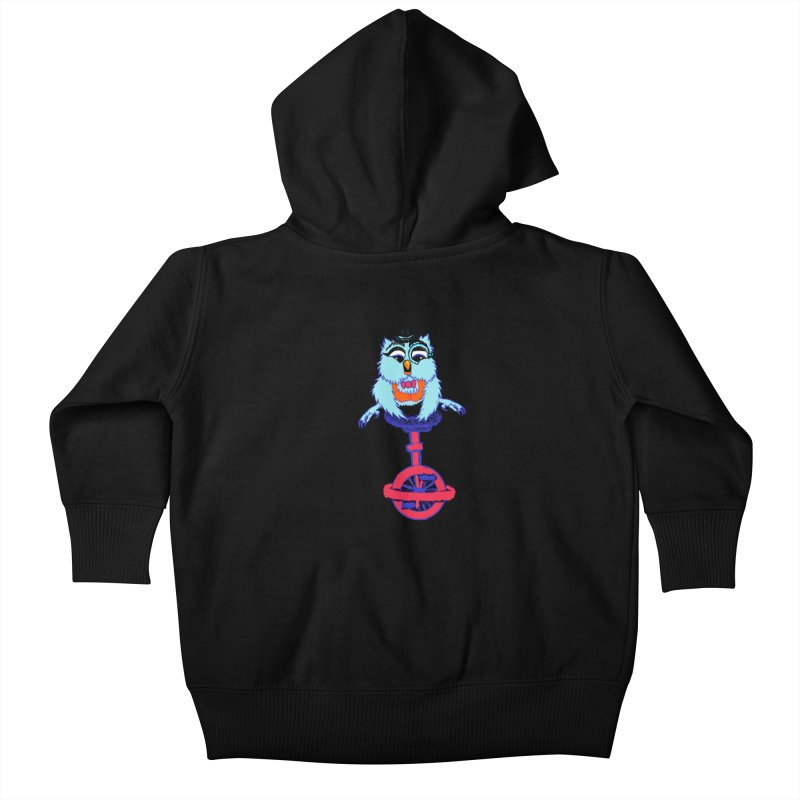 Owl on a Unicyle Kids Baby Zip-Up Hoody by Rebecca's Artist Shop
