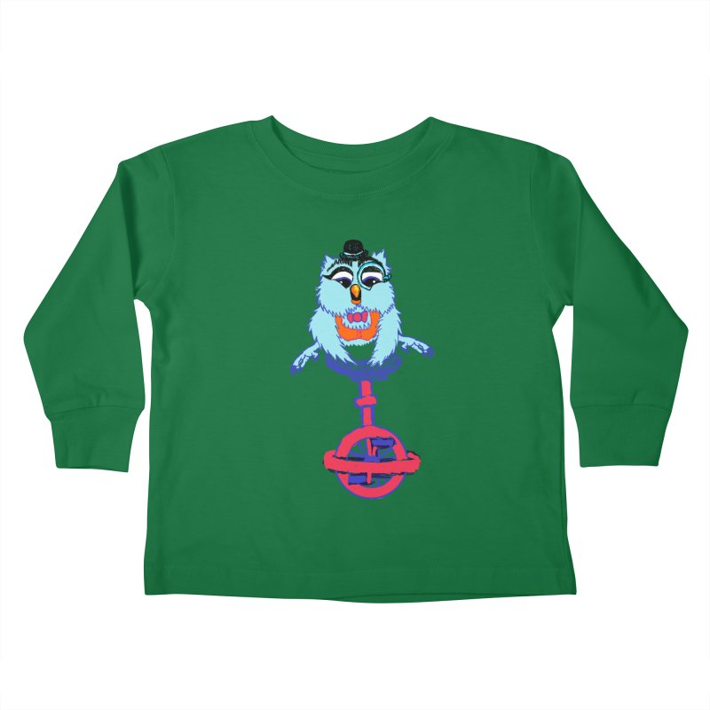 Owl on a Unicyle Kids Toddler Longsleeve T-Shirt by Rebecca's Artist Shop