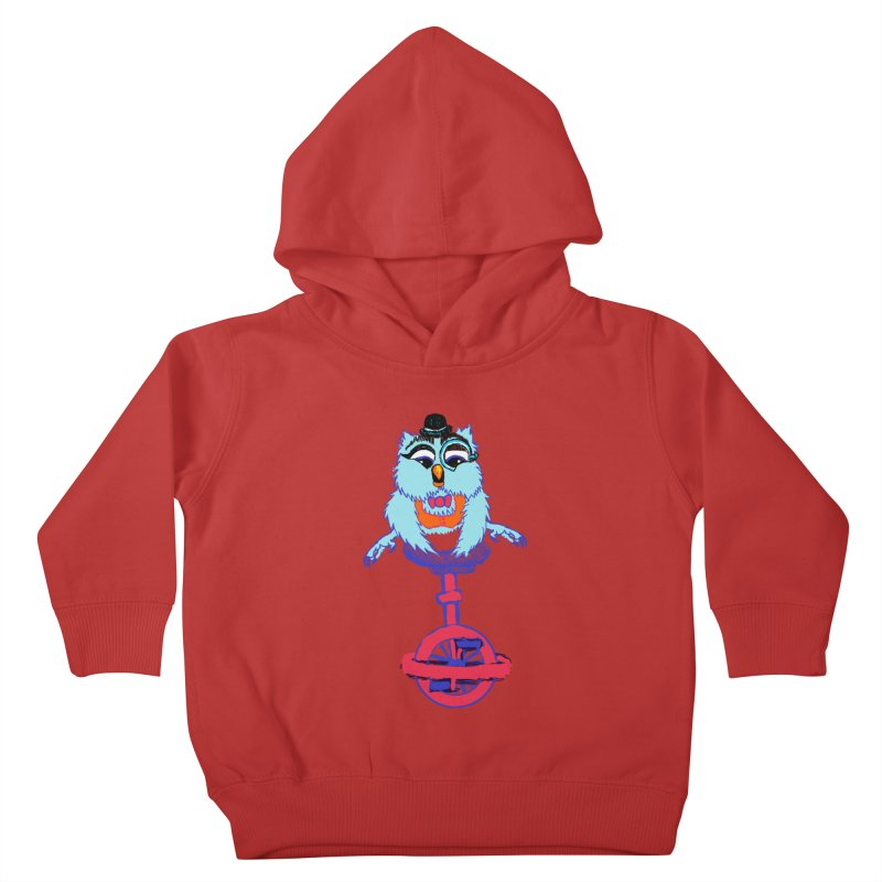 Owl on a Unicyle Kids Toddler Pullover Hoody by Rebecca's Artist Shop