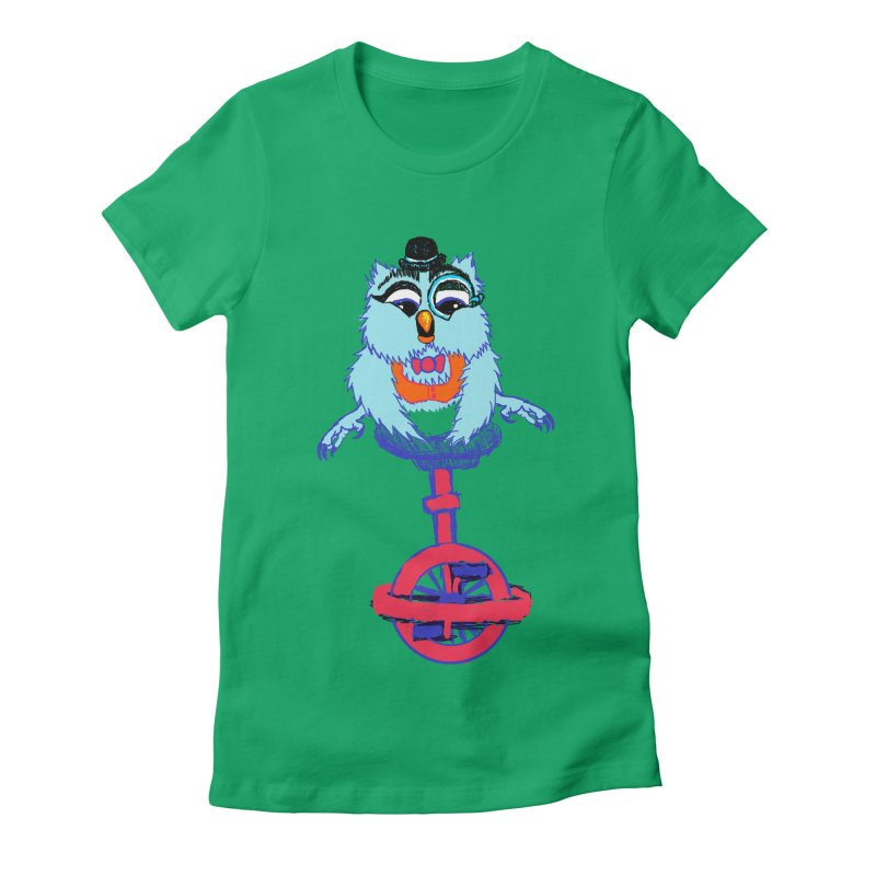 Owl on a Unicyle Women's Fitted T-Shirt by Rebecca's Artist Shop