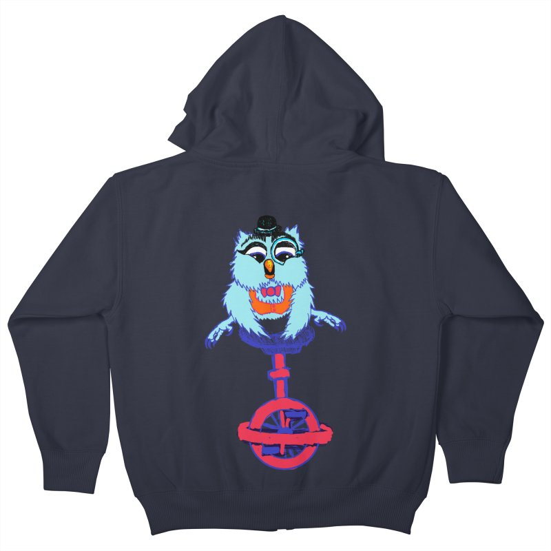 Owl on a Unicyle Kids Zip-Up Hoody by Rebecca's Artist Shop