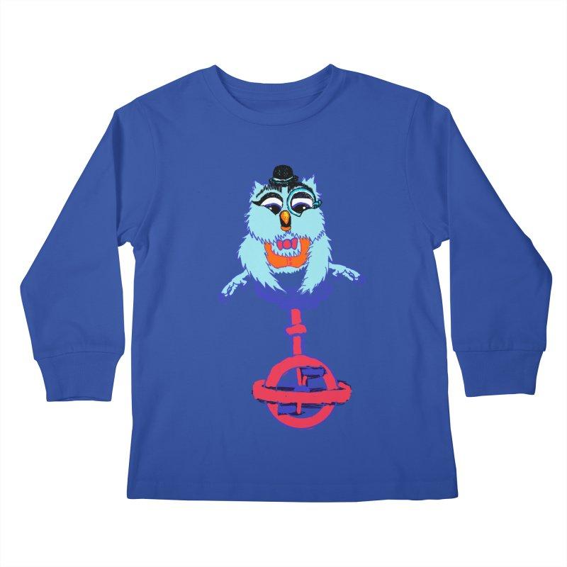Owl on a Unicyle Kids Longsleeve T-Shirt by Rebecca's Artist Shop