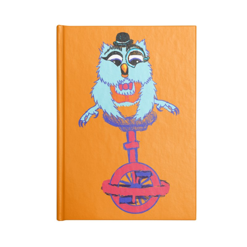 Owl on a Unicyle Accessories Notebook by Rebecca's Artist Shop