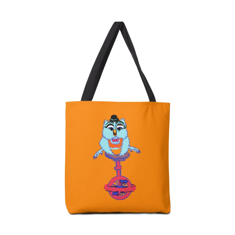 Owl on a Unicyle Accessories Bag by Rebecca's Artist Shop