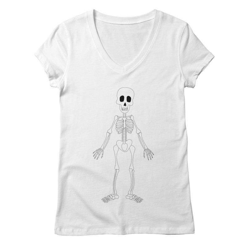 Skully Women's V-Neck by Rebecca's Artist Shop