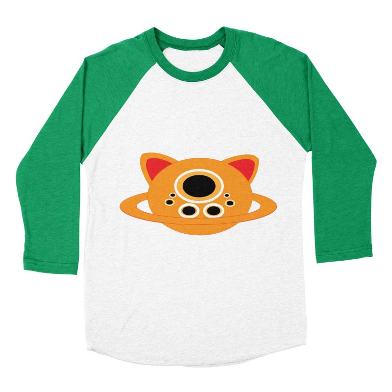 Saturn Cat Design  Men's Baseball Triblend T-Shirt by Rebecca's Artist Shop