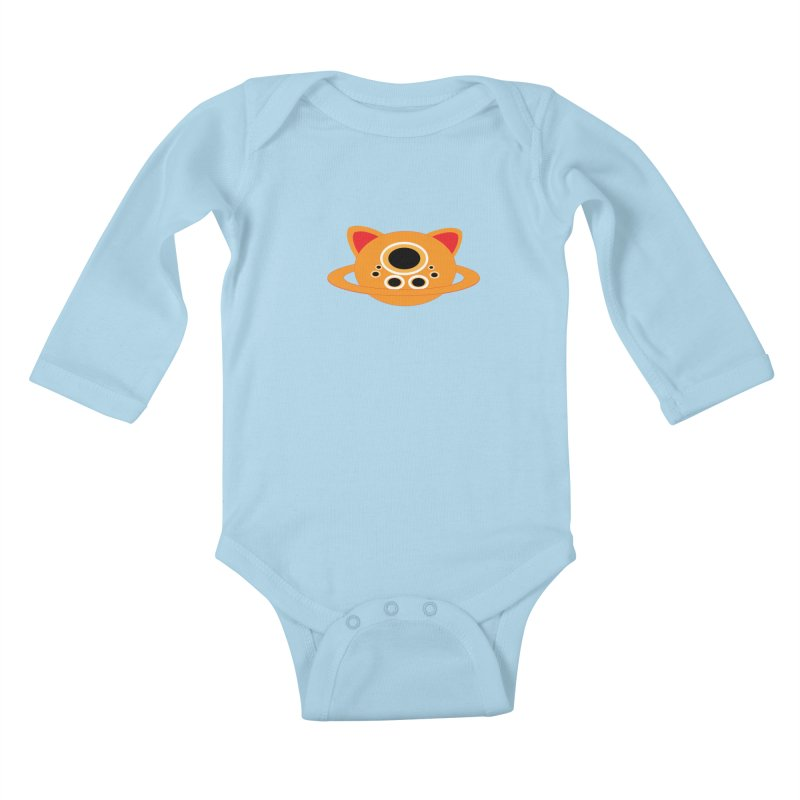 Saturn Cat Design  Kids Baby Longsleeve Bodysuit by Rebecca's Artist Shop